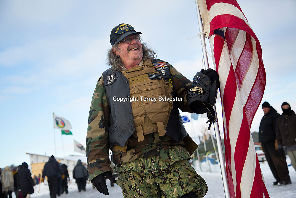A military veteran poses for a photograph in the opposition camp against the Dakota Access oil pipeline on December 4, 2016. Cannon Ball, North Dakota, United States.