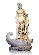 Statue of Thetsis - a 2nd century AD Roman statue found in the city of Lavinia, Italy. Thetis is encountered in Greek mythology mostly as a sea nymph or known as the goddess of water, one of the fifty Nereids, daughters of the ancient sea god Nereus. he statue belonged to a set of ten divinities formerly presented in the portico hemicycle of the city. The Albani Collection Inv No. LL 19 (Usual No Ma 2244), Louvre Museum, Paris. .<br /> <br /> If you prefer to buy from our ALAMY STOCK LIBRARY page at https://www.alamy.com/portfolio/paul-williams-funkystock/greco-roman-sculptures.html- Type -    Louvre    - into LOWER SEARCH WITHIN GALLERY box - Refine search by adding a subject, place, background colour,etc.<br /> <br /> Visit our CLASSICAL WORLD HISTORIC SITES PHOTO COLLECTIONS for more photos to download or buy as wall art prints https://funkystock.photoshelter.com/gallery-collection/The-Romans-Art-Artefacts-Antiquities-Historic-Sites-Pictures-Images/C0000r2uLJJo9_s0c .<br /> <br /> If you prefer to buy from our ALAMY STOCK LIBRARY page at https://www.alamy.com/portfolio/paul-williams-funkystock/greco-roman-sculptures.html- Type -    Louvre    - into LOWER SEARCH WITHIN GALLERY box - Refine search by adding a subject, place, background colour,etc.<br /> <br /> Visit our CLASSICAL WORLD HISTORIC SITES PHOTO COLLECTIONS for more photos to download or buy as wall art prints https://funkystock.photoshelter.com/gallery-collection/The-Romans-Art-Artefacts-Antiquities-Historic-Sites-Pictures-Images/C0000r2uLJJo9_s0c