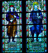 Jan van Terwen 1511-1589. The Dutch artist and sculptor is here depicted (left) and Hendrick de Keyser Dutch Architect (1565-1621),  in a stained glass window at the Rijks Museum in Amsterdam, Holland.