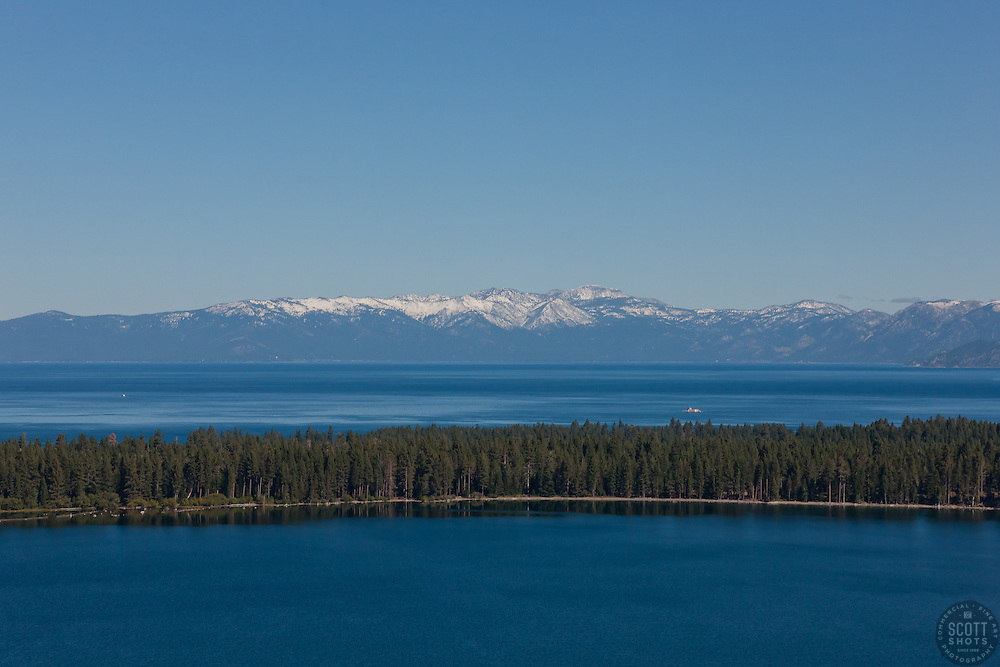 """""""Lake Tahoe and Fallen Leaf Lake 2"""" - Aerial photograph of Fallen Leaf Lake in the foreground and Lake Tahoe can be seen in the background."""