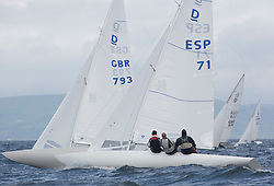 International Dragon Class Edinburgh Cup 2015.<br /> <br /> The first days racing in a strong southerly.<br /> <br /> ESP71 , BEAR, Martin Payne, Salcombe YC<br /> <br /> <br /> Credit Marc Turner