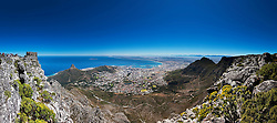 Aerial view of city against blue sky, Cape Town, South Africa
