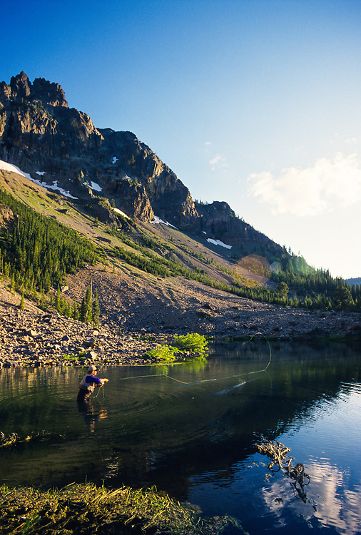 Fly fishing on Little Strawberry Lake in the Strawberry Mountain Wilderness, Strawberry Mountains in Eastern Oregon