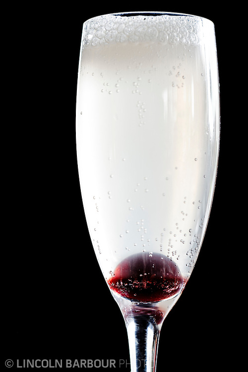 Champaign cocktail with candied cherry
