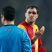 Galatasaray's Johan Elmander (R) during their Turkish superleague soccer derby match Fenerbahce between Galatasaray at Sukru Saracaoglu stadium in Istanbul Turkey on Saturday 17 March 2012. Photo by TURKPIX