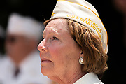 Ginger Emerson of the American Gold Star Mothers on the memorial day ceremony at the Arlington cemetery in Arlington, Virginia on 04/17/2020. Photo  by Akash Pamarthy