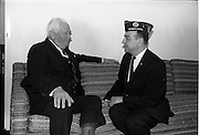 02/06/1964 <br /> 06/02/1964<br /> 02 June 1964<br /> National Commander of the American Legion in Dublin. Mr. Daniel F. Foley, whose grandparents were from Newcastlewest, Co. Limerick on a short holiday in Ireland. Picture shows the United States Ambassador to Ireland, Mr. Matthew McCloskey (right) chatting with a veteran at the new U.S. Embassy in Dublin.
