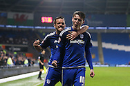 Joe Mason of Cardiff city (10) celebrates with his teammate Craig Noone after he scores his teams 1st goal.Skybet football league championship match, Cardiff city v Blackburn Rovers at the Cardiff city stadium in Cardiff, South Wales on Saturday 2nd Jan 2016.<br /> pic by Andrew Orchard, Andrew Orchard sports photography.