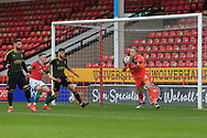Anssi Jaakkola (32) of Bristol Rovers catches the ball  during the The FA Cup match between Walsall and Bristol Rovers at the Banks's Stadium, Walsall, England on 7 November 2020.