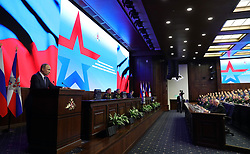 January 30, 2018 - Moscow, Russia - January 30, 2018. - Russia, Moscow. - Russian President Vladimir Putin at a military and practical conference following the special operation in Syria at Russia's National Defense Control Center. (Credit Image: © Russian Look via ZUMA Wire)