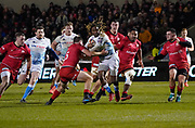 Sale Sharks wing Marland Yarde breaks through the Saracens defence during a Premiership Rugby Cup Semi Final  won by Sale 28-7, Friday, Feb. 7, 2020, in Eccles, United Kingdom. (Steve Flynn/Image of Sport)