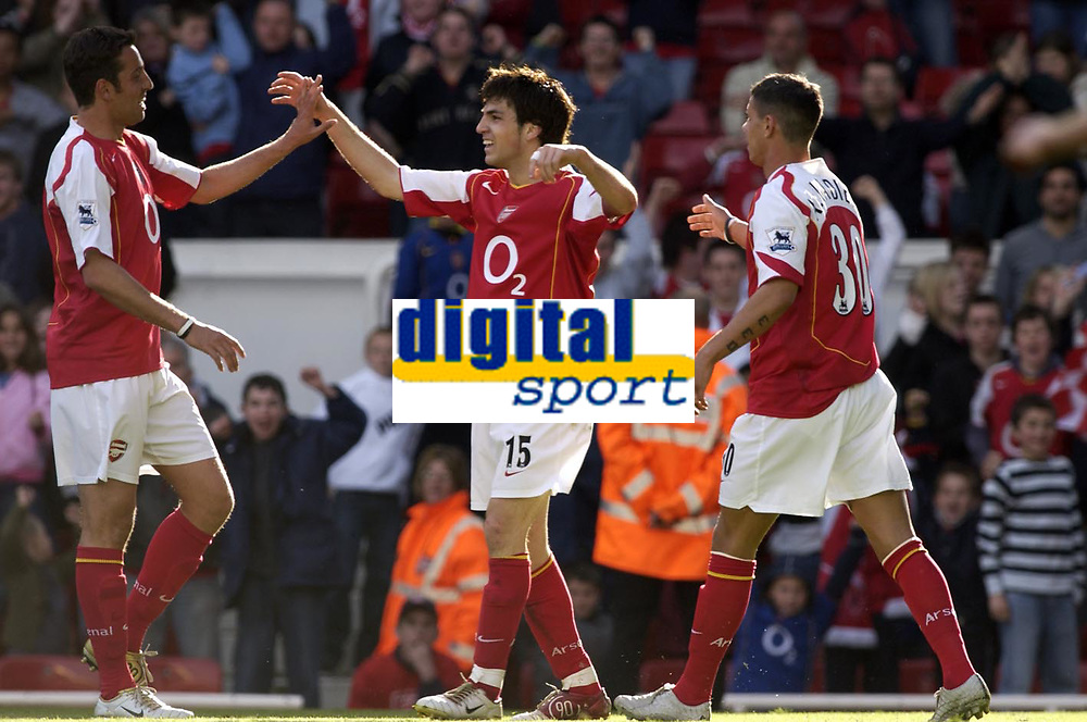 Photo: Daniel Hambury, Digitalsport<br /> Arsenal v Liverpool.<br /> FA Barclays Premiership.<br /> 08/05/2005.<br /> Arsenal's Cesc Fabregas celebrates his goal with Edu L and Jeremie Alaidiere.<br /> Norway only