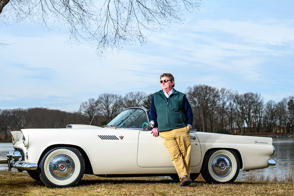 Chestertown, Maryland - February 10, 2019: Phil Hoon with his 1955 Ford Thunderbird in his Chestertown, Md., backyard.<br /> <br /> Phil Hoon is an attorney from Chestertown, Md. His grandfather was a Ford dealer in rural Chestertown in the 1950s. When Ford released the Thunderbird in model year 1955, every dealer got one to sell. Phil Hoon's grandfather sold a Thunderbird to a local woman, who then sold it to Phil's mother. Now Phil has it, so it resides in the town where it was first sold.<br /> <br /> CREDIT: Matt Roth for The Wall Street Journal