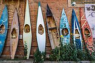 Salida, Colorado, vintage kayaks, alley,
