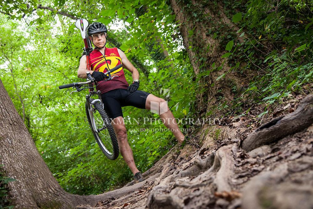 Mike Sacks mountaing biking on Richmond's Buttermilk Trail
