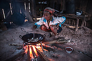 A woman cooks pork in her village home, northern Laos
