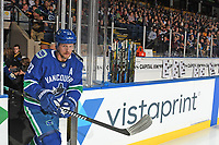 KELOWNA, BC - SEPTEMBER 29: Alexander Edler #23 of the Vancouver Canucks steps on to the ice of his former junior hockey team, the Kelowna Rockets, at the start of the preseason game against the Arizona Coyotes at Prospera Place on September 29, 2018 in Kelowna, Canada. (Photo by Marissa Baecker/NHLI via Getty Images)  *** Local Caption *** Alexander Edler