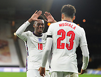 Football - 2021 UEFA European Under-21 Championships - Qualifying - Group 3 - England vs Albania - Molyneux<br /> <br /> Jamal Musiala of England celebrates scoring goal no 3 with Callum Hudson - Odoi<br /> <br /> COLORSPORT/ANDREW COWIE
