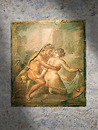 A Roman erotic fresco painting from Pompeii,  Naples National Archaeological, 1st cent AD ,  Secret Museum or Secret Cabinet, .<br /> <br /> If you prefer to buy from our ALAMY PHOTO LIBRARY  Collection visit : https://www.alamy.com/portfolio/paul-williams-funkystock - Scroll down and type - Roman Art Erotic  - into LOWER search box. {TIP - Refine search by adding a background colour as well}.<br /> <br /> Visit our ROMAN ART & HISTORIC SITES PHOTO COLLECTIONS for more photos to download or buy as wall art prints https://funkystock.photoshelter.com/gallery-collection/The-Romans-Art-Artefacts-Antiquities-Historic-Sites-Pictures-Images/C0000r2uLJJo9_s0