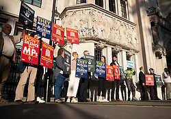 © Licensed to London News Pictures. 17/09/2019. London, UK. Protestors gather outside The Supreme Court. Today the court will start hearing appeals against Scottish and English courts decisions on the government's proroguing of Parliament. Photo credit: Peter Macdiarmid/LNP