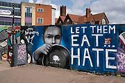 Anti racism graffiti in Digbeth on 3rd August 2021 in Birmingham, United Kingdom.