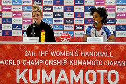 03-12-2019 JAP: Netherlands - Cuba, Kumamoto<br /> Third match 24th IHF Women's Handball World Championship, Netherlands win the third match against Cuba with 51- 23. / Angela Malestein #26 of Netherlands, Yunisleidy Camejo Rodriguez #11 of Cuba