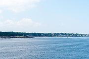 Seaside view of the homes along Portland Head, near Portland, Maine, USA.