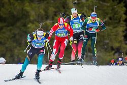 Christian Gow (CAN), Erik Lesser (GER) during Single Mixed Relay at day 1 of IBU Biathlon World Cup 2018/19 Pokljuka, on December 2, 2018 in Rudno polje, Pokljuka, Pokljuka, Slovenia. Photo by Ziga Zupan / Sportida