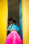 Child at School on the Floating islands of Lake Titicaka, Puno, Peru, South America