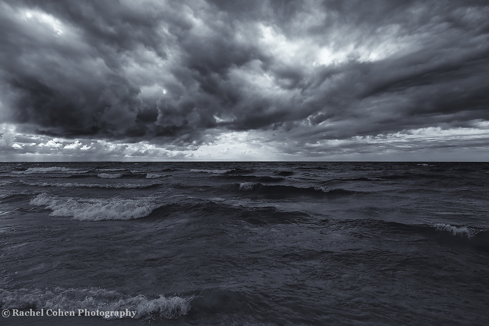 """""""Lake Michigan in Motion"""" mono<br /> <br /> Beautiful and stormy Great Lakes image in black and white!"""