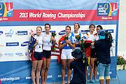 Chungju, South Korea.  Lightweight women's double sculls medals, Middle Gold medalist.  ITA LW2X. Bow. Laura MILANI and Elisabetta SANCASSANI, left Silver medalist, USALW2X. Kristin HEDSTROM and  Kathleen BERTKO. right Bronze medalist. GER LW2X.  Lena MUELLER and Anja NOSKE. 2013 FISA World Rowing Championships, Tangeum Lake International Regatta Course.16:17:34  Saturday  31/08/2013 [Mandatory Credit. Peter Spurrier/Intersport Images]