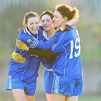 21 November 2010; West Clare Gaels captain Michelle Downes, left, celebrates with team-mates Shauna Harvey, centre, and Lauren McMahon at the final whistle after victory over St Conleth's, Laois. Tesco All-Ireland Intermediate Ladies Football Club Championship Final, West Clare Gaels, Clare v St Conleth's, Laois, McDonagh Park, Nenagh, Co. Tipperary. Picture credit: Diarmuid Greene / SPORTSFILE *** NO REPRODUCTION FEE ***