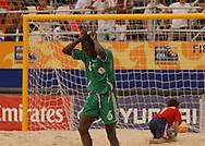Football-FIFA Beach Soccer World Cup 2006 - Group D-ARG_NGA - Opening match of the Beachsoccer World Cup 2006. Suleiman Usman celebrates his goal while Marcelo Salgueiro, GK, looks for the ball- Rio de Janeiro - Brazil 02/11/2006<br />Mandatory credit: FIFA/ Marco Antonio Rezende.