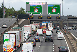©Licensed to London News Pictures 28/08/2020 Dartford,UK. 40mph speed limit on M25 this morning. The big August bank holiday staycation getaway has started today on the M25 in Dartford, Kent. Traffic near the Dartford crossing is starting to get busy as bank holiday travellers look to get away. 18 million cars are expected on the roads this weekend with rail cancellations due to engineering works causing delays. Photo credit: Grant Falvey/LNP