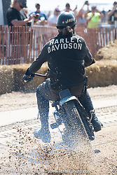 "Josh Kohn riding his 45"" Harley-Davidson Flathead at the Bradford Beach Brawl, a TROG style beach racing event, during the Harley-Davidson 115th Anniversary Celebration event. Milwaukee, WI. USA. Friday August 31, 2018. Photography ©2018 Michael Lichter."