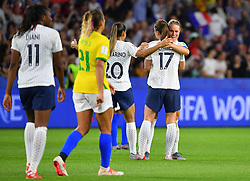 France's joy during FIFA Women's World Cup France group A match France v Brazil on June 23, 2019 in Le Havre, France. France won 2-1 after extra time reaching quarter-finals. Photo by Christian Liewig/ABACAPRESS.COM