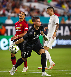 July 31, 2018 - Miami Gardens, Florida, USA - Real Madrid C.F. goalkeeper Adriy Lunin (27) in action during an International Champions Cup match between Real Madrid C.F. and Manchester United F.C. at the Hard Rock Stadium in Miami Gardens, Florida. Manchester United F.C. won the game 2-1. (Credit Image: © Mario Houben via ZUMA Wire)