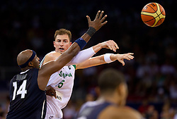 Lamar Odom of USA vs Primoz Brezec of Slovenia during the Preliminary Round - Group B basketball match between National teams of USA and Slovenia at 2010 FIBA World Championships on August 29, 2010 at Abdi Ipekci Arena in Istanbul, Turkey.  (Photo by Vid Ponikvar / Sportida)