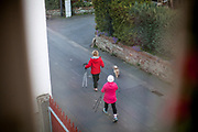 Two pensioners in the age over 70 years are going for a power walk with their dog Lisa.