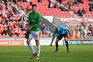 After Doncaster Rovers goalkeeper Marko Marosi (13) receives red card and is sent off Doncaster Rovers midfileder Benjamin Whiteman (8) stands in as goalkeeper during the EFL Sky Bet League 1 match between Doncaster Rovers and Portsmouth at the Keepmoat Stadium, Doncaster, England on 25 August 2018.Photo by Ian Lyall.