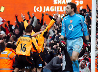 Michael Gray Sheffield United Celebrates scoring goal with a dejected Manuel Almunia Arsenal (Right))<br /> Arsenal V Sheffield United 19/02/05<br /> The F/A Cup 5th Round<br /> Photo Robin Parker Digitalsport