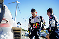 October 6, 2017 - Salou, Catalonia, Spain - The french driver, Sbastien Ogier and his co-driver Julien Ingrassia of M-Sport team fixing his Ford Fiesta WRC during the first day of Rally Racc Catalunya Costa Daurada, on October 6, 2017 in Salou, Spain. (Credit Image: © Joan Cros/NurPhoto via ZUMA Press)