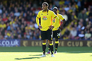 Troy Deeney, the Watford captain looking on. Premier league match, Watford v AFC Bournemouth at Vicarage Road in Watford, London on Saturday 1st October 2016.<br /> pic by John Patrick Fletcher, Andrew Orchard sports photography.