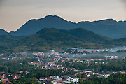High angle view of Luang Prabang, Laos, from Mount Phousi.