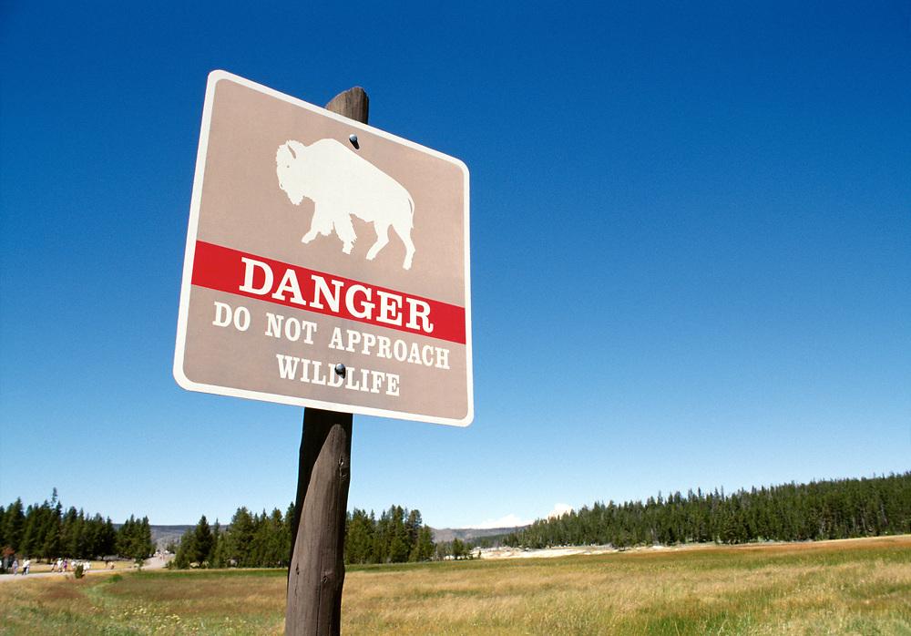 Buffalo Warning Sign, Yellowstone National Park, Wyoming, USA,