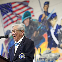 020615       Cayla Nimmo<br /> <br /> Congressional Medal of Honor recipient Hiroshi Miyamura addresses the crowd gathered at Miyamura High School in Gallup after receiving the FBI Director's Community Leadership Award Friday.