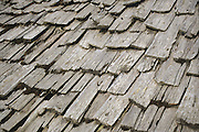 Timber roof tiles of an alpine hay barn, South Tyrol, Italy, 2002