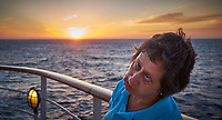 Sunrise Breakfast Club. Yet another sunrise portrait.  MV World Odyssey At Sea. Image taken with a Fuji X-T1 camera and 23 mm f/1.4 lens