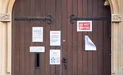 © Licensed to London News Pictures. 01/02/2020. Bristol, UK. Notices referring to the Coronavirus are pinned to the door of the Family Practice Western College in Hampton Road in Bristol. The surgery appears to be closed despite the sign saying it is open on Saturday mornings. Photo credit: Simon Chapman/LNP.