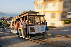 United States, California, San Francisco, cable car in motion